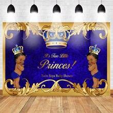 Фон для фотосъемки новорожденных с короной и голубым Дамаском