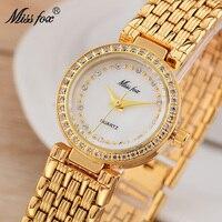 Gold Watch MISSFOX Miss Fox Fashion Alloy Belt Stainless Steel Women Watches Small White Pink Gems Bracelet Clasp Stell Clocks