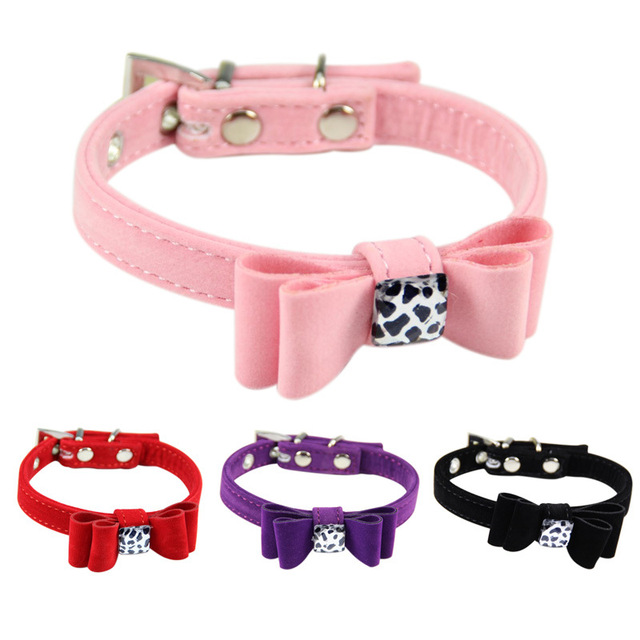 4 Colors Cute Bow Flannel Dogs Collar Leopard Print Decoration soft ...