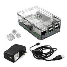 Elecrow 4 in 1 Starter Kit для Raspberry Pi 3 2 с Ясно Чехол + Питание + 2 шт. Радиаторы и Micro USB с Включения/Выключения US Plug