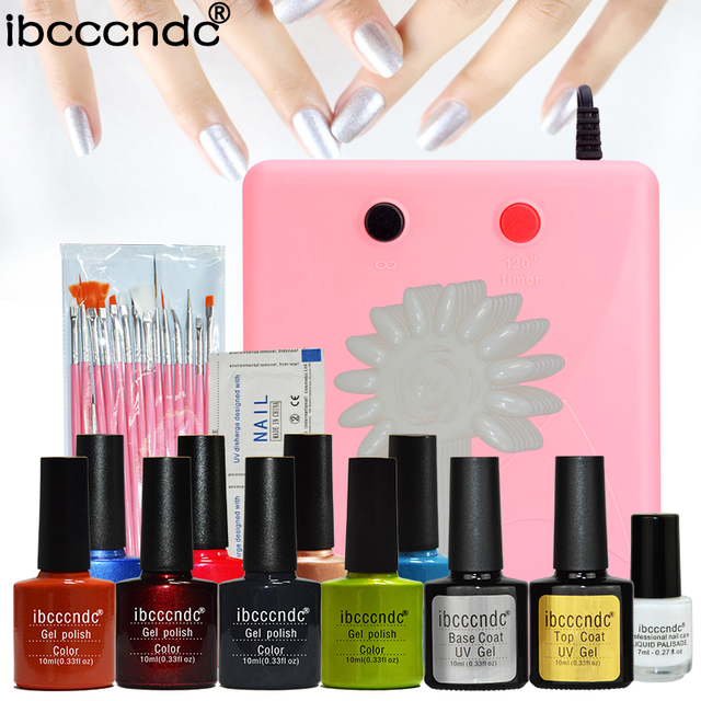 Pro 8 Colors Manicure Nail Art Set 36W UV Lamp Dryer UV Gel Polishes ...