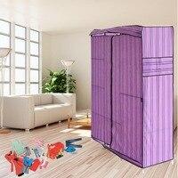 Blue Simple Design 68 Inch +70 Inch Folding Closet Wardrobe Clothes Stainless Rack Organizer Storage Wardrobe Cabinets