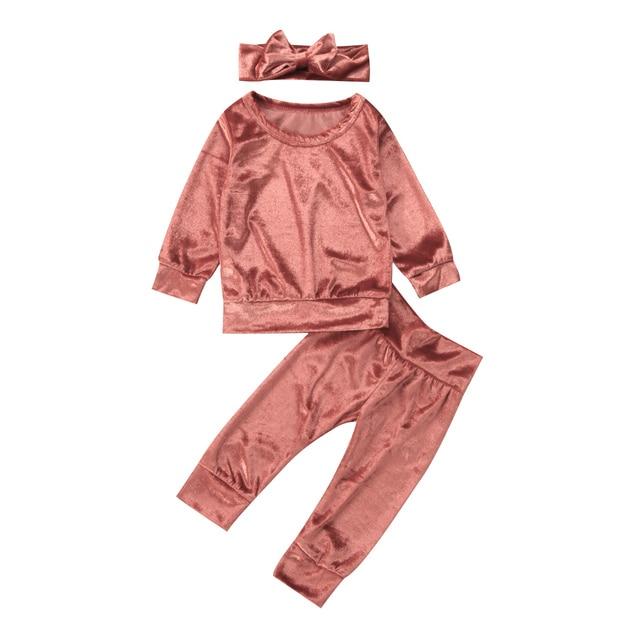 3 piezas primavera recién nacido bebé niñas terciopelo manga larga sólido Tops pantalones diadema conjunto ropa 0-24 M