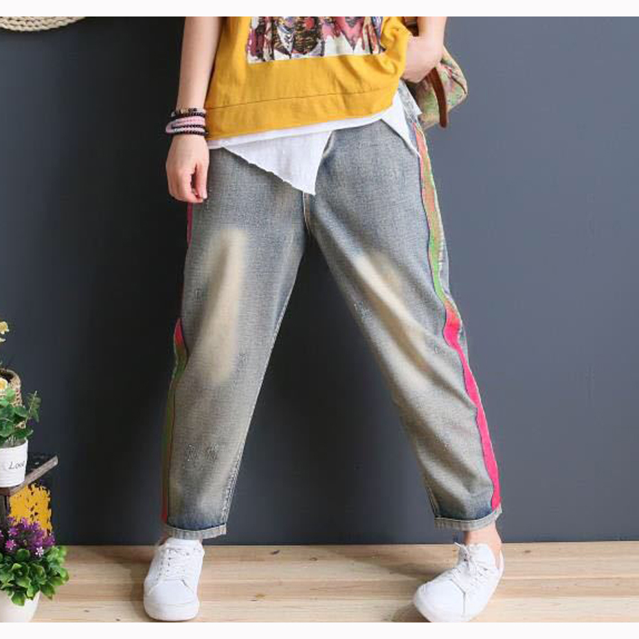 Women Jeans Denim Pants Joggers Casual Fashion for Summer Long Big Loose Side Colored Stripe AZ60232217(China)