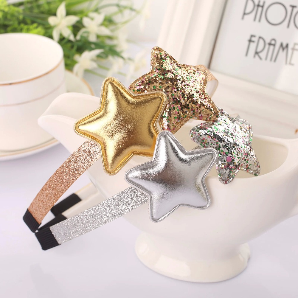 glitter star baby girl headband korean hair head bands ornament accessories for girls kid children hair ornaments hoop hairband
