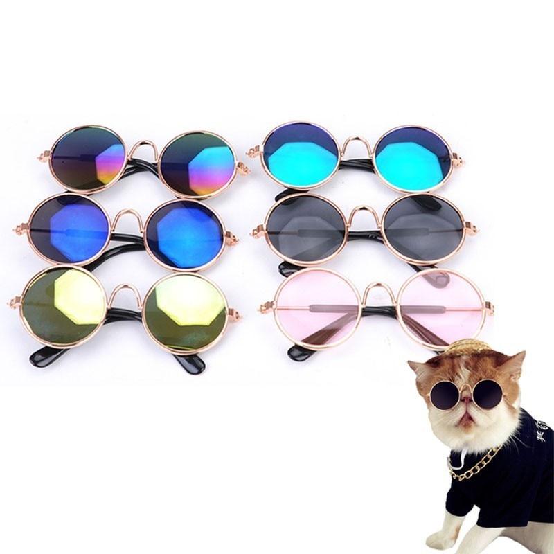 1pc Cute Dog Sunglasses Metal Frame Cat Glasses Eye wear Dog Glasses Photos Props font b