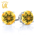 GemStoneKing 0.90 Ct Round 5MM Natural Yellow Citrine Earrings For Women 925 Sterling Silver Stud Earrings Fine Jewelry