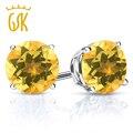 Gemstoneking 0.90 ct rodada 5mm natural amarelo citrino brincos para as mulheres 925 prata esterlina brincos de jóias finas