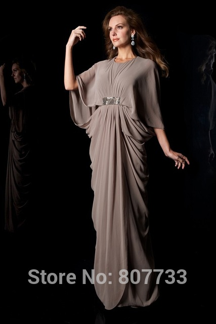 d61c2dacd54 W100 Gorgeous grey chiffon beach bohemian style mother of the bride dress  with sleeves