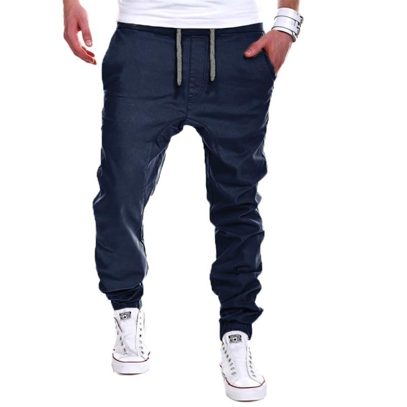 Men Long Pants Solid Black Color Drawstring Mid Waist Loose Casual Style Sutumn Autumn Wear Trousers Cross Pants Fashion /-