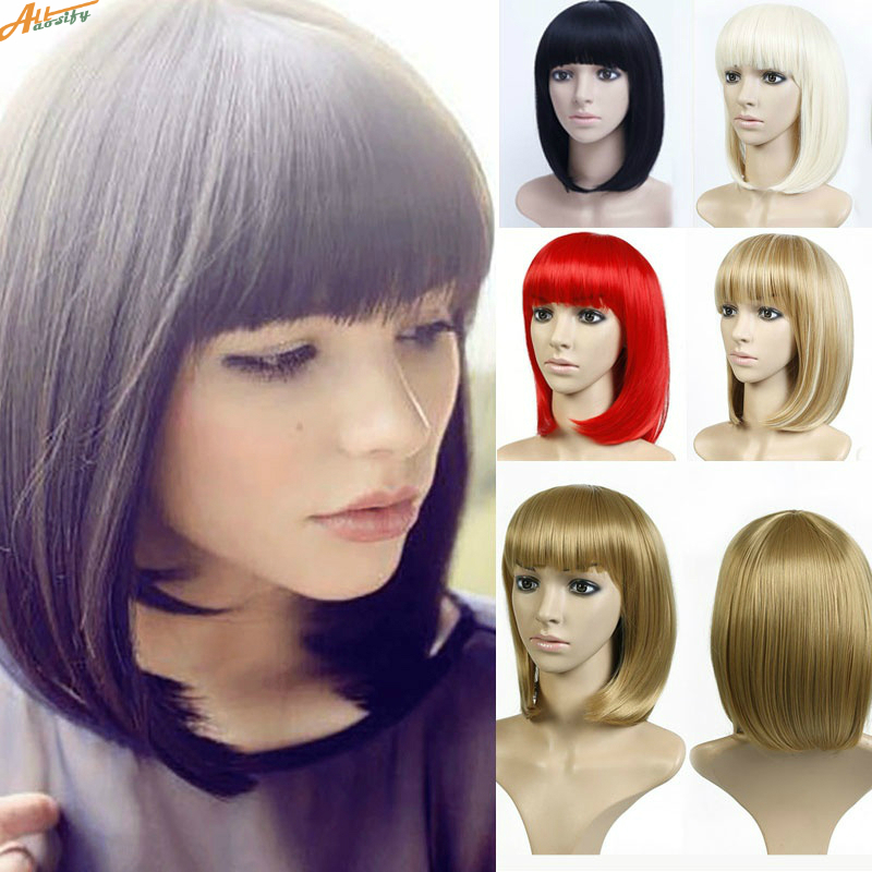 Allaosify Short Bob Wig Synthetic Wigs For Women Heat Resistant Straight Hair For Women Hairpieces