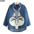 2017 New Spring Girls Denim Shirts Long Sleeve Lovely Cartoon Rabbit Blouse Casual Fashion Chemise Enfant Retail Free Shipping