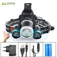 ZPAA LED Headlamp 10000LM XML T6 LED Headlight Rechargeable 4 Mode Head Flashlight Torch Lamp Lantern