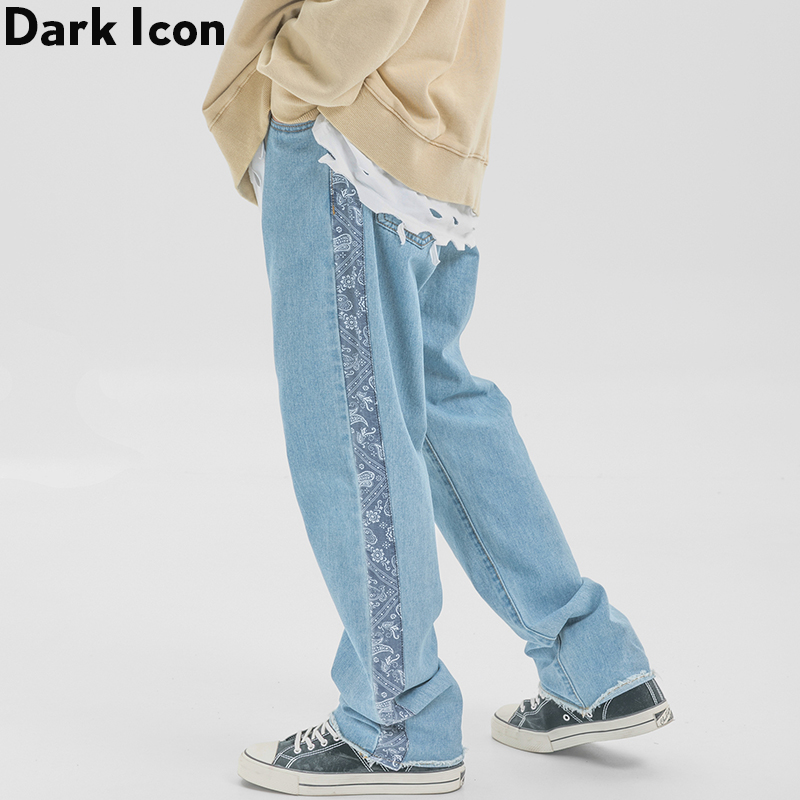Dark Icon Side Bandana Stripe Jeans Men Hi-end Fashion Denim Pants Street Man Trousers