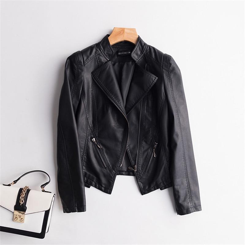 Dames Grande Court New En Printemps Veste Noir Taille Cw477 Cuir Slim Automne Faux Femmes Black Femelle 2018 Pu 667ySc