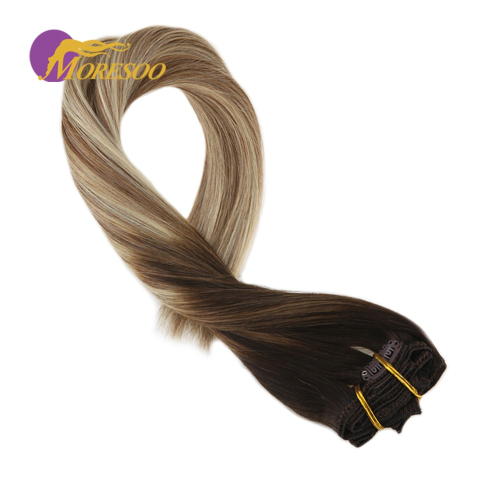 Moresoo Machine Remy Human Hair Extensions Clip In Hair Extensions Color #4 Brown Fading To #6 And #24 Blonde 7Pcs/100G