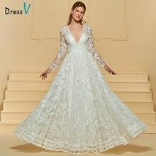 Dressv floor length long sleeves beach wedding dresses