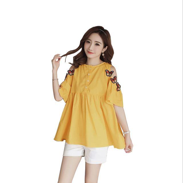 a602c1e66a679 Pengpious pregnant women summer fashion cotton short sleeve off-the-shoulder  blouse embroidery shoulderless