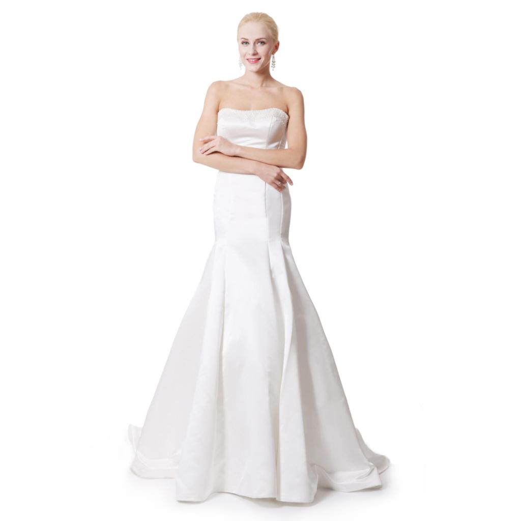 2016 New Plus Size Satin Empire Wedding Dresses Floor Length Strapless Bra Ivory White Vintage Dress Sleeveless In From Weddings