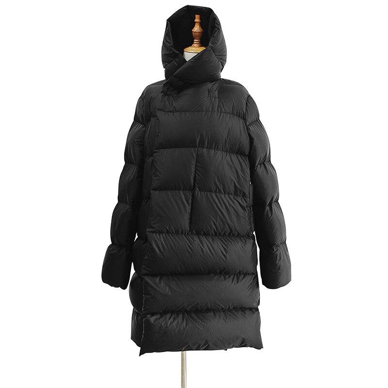 WSYORE Long Parka Women Black   Down   Jacket Female Winter New Dark Wind Long   Down     Coat   Loose Hooded Warm Bread Jackets NS856