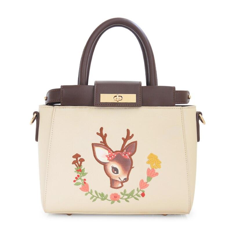 ENSSO Big Quality New Deer Peekaboo Mori Women  Leather Mini Leather PU Mini Women's Handbags Messenger Crossbody Bags Totes Bag сумка fendi peekaboo mini kelly