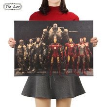 Marvel Hero Iron Man Vintage Kraft Paper Classic Movie Poster Home Decor Wall Decoration Art Poster Painting 51X36cm(China)