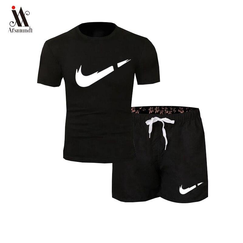 2019 New Men Fashion Two Pieces Sets T Shirts+Shorts Suit Men Summer Tops Tees Fashion Tshirt High Quality Men Clothing