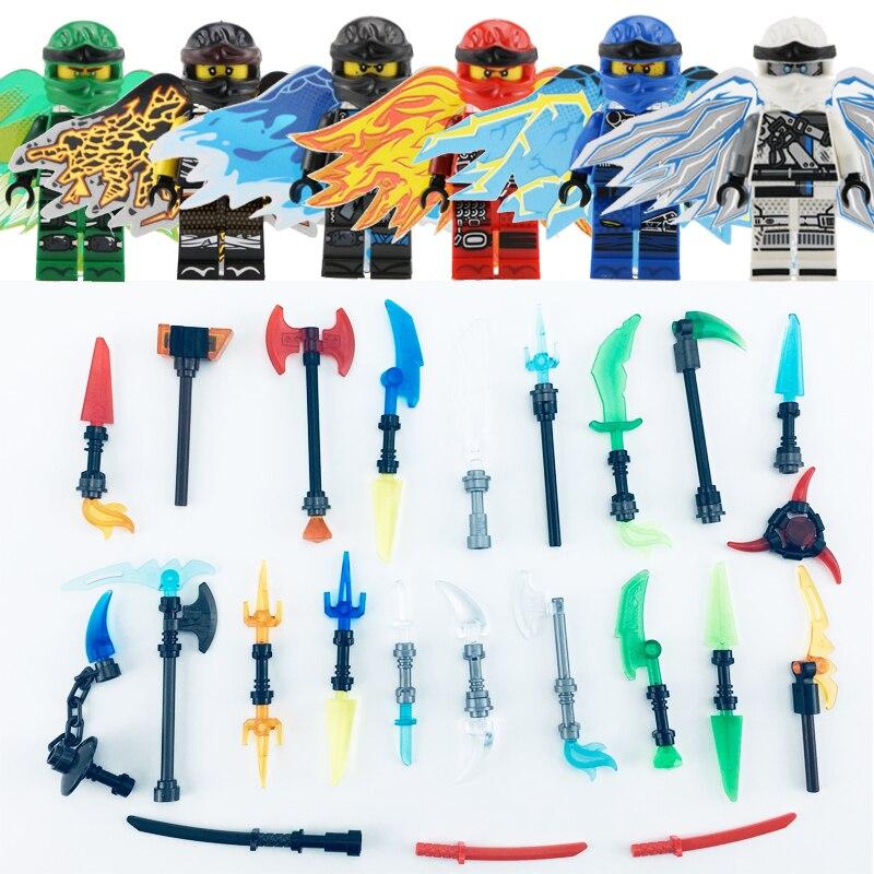 HOT 6pcs Action Figure Toys NinjagoINGlys Flying Wings Nya Lloyd Jay Zane Kai Figure With Weapons Model Building Blocks Toys