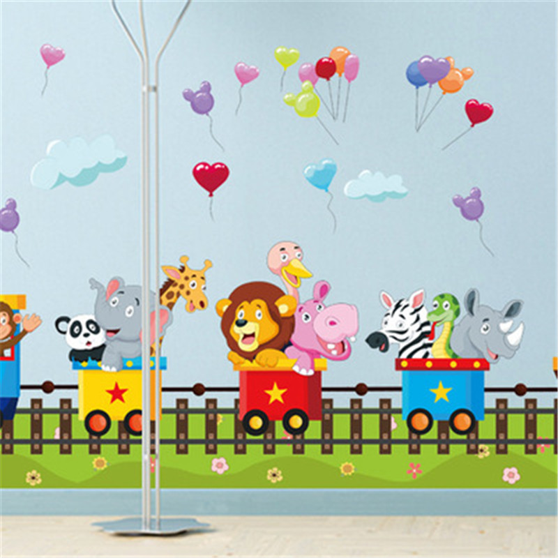 Aliexpress Buy Cartoon Jungle Wild Animal Train Wall Stickers