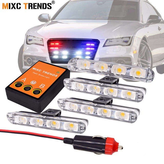 Vehicle Strobe Lights >> Us 15 41 52 Off 4pcs Stroboscopes Police Strobe Lights Kit For Emergency Vehicles Flashing Warning Light 12v Ambulance Car Truck Led Fog Lights In