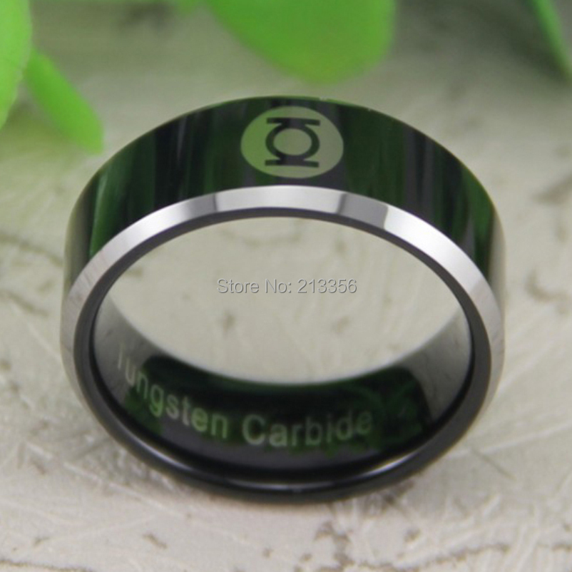cheap price free shipping usa canada hot selling 8mm black silver bevel green lantern lord mens fashion tungsten wedding ring in rings from jewelry - Green Lantern Wedding Ring