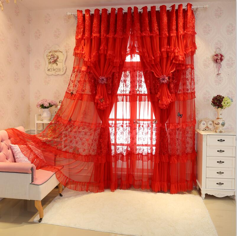 Embroidery Lace Cortinas Luxury Red Curtains For Living Room Joyous Wedding Blackout Curtain Set Cortina Rideaux