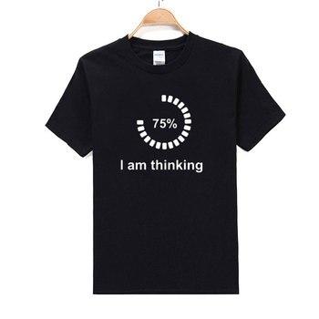 summer I am Thinking Loading T-shirts Creative Short Sleeve Tops Tees Streetwear Geek Teens Boys Casual Clothes White T shirt