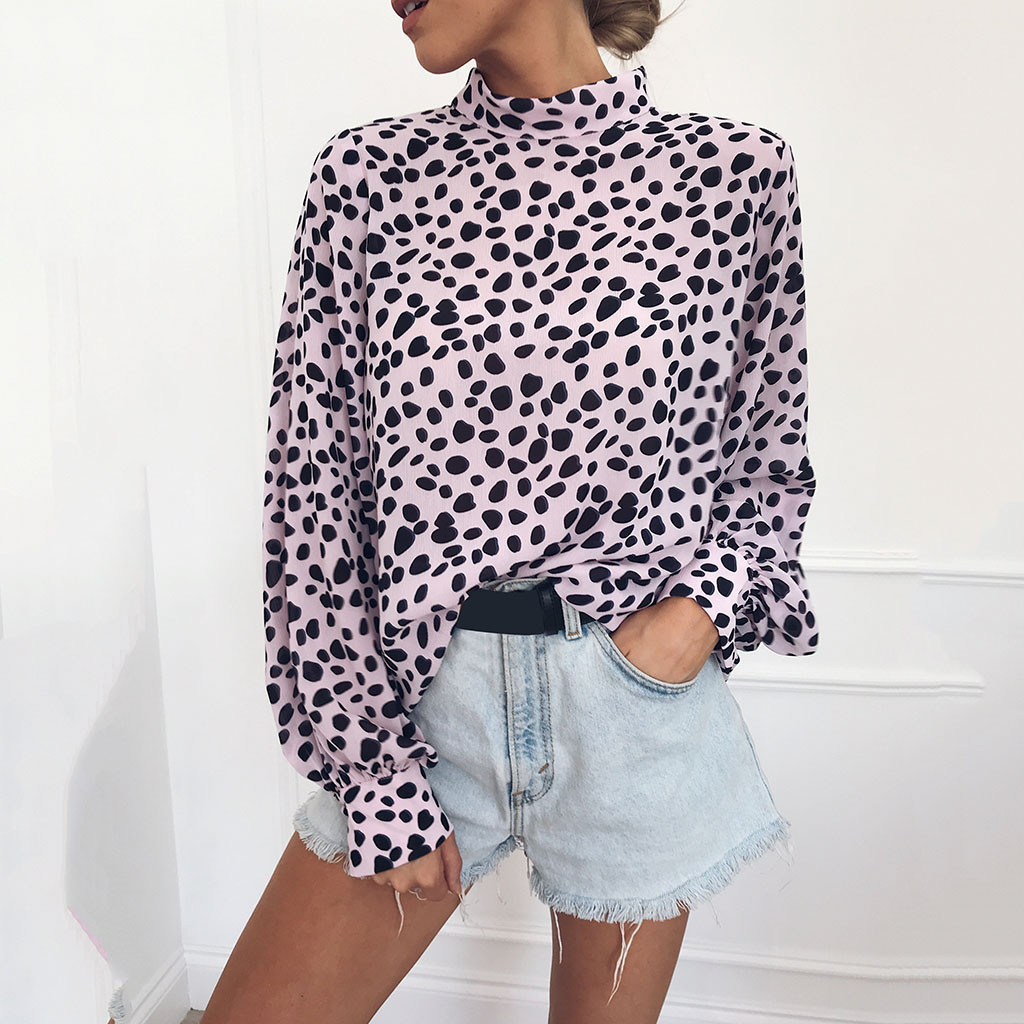 Womens Turtleneck Leopard Print Long Sleeve Loose Shirt Tops Women Basic Box Pleated 100% Crepe de chine silk lightweight 2018 одежда на маленьких мальчиков