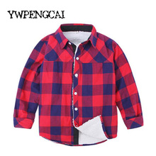 Warm Thick Children Shirts Autumn Winter Boys Plaid Shirt With Fur Inside 2-10 Years Kids Cotton Blouses Boys Clothing
