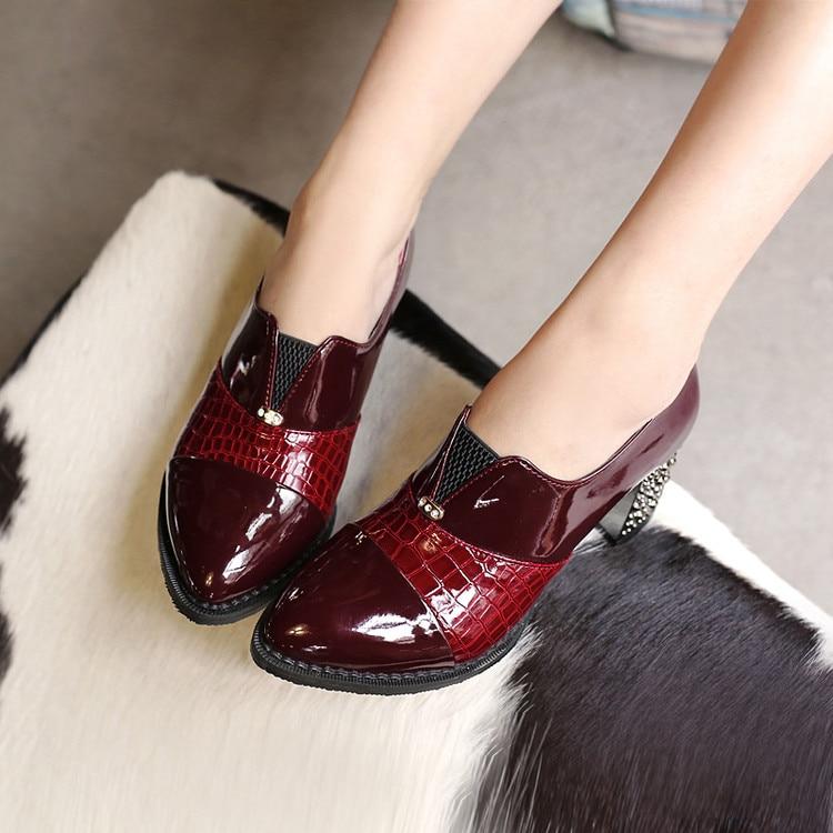 Femme Taille Casual Haut 34 À Lacets Plus Talon Pompes Printemps Automne 010a3 Chaussures Cuir rouge Talons bleu De Noir 48 Grande Épais En Mode Verni qFxIw5Iza