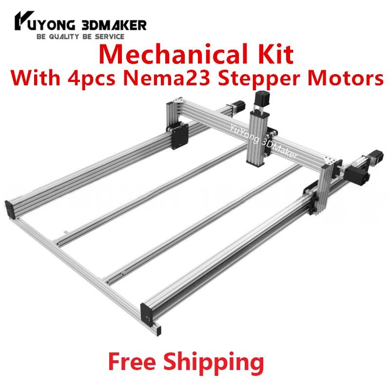 Haute précision PLOMB CNC Routeur Machine Mécanique kit avec 4 pièces Nema23 Moteurs pas à pas