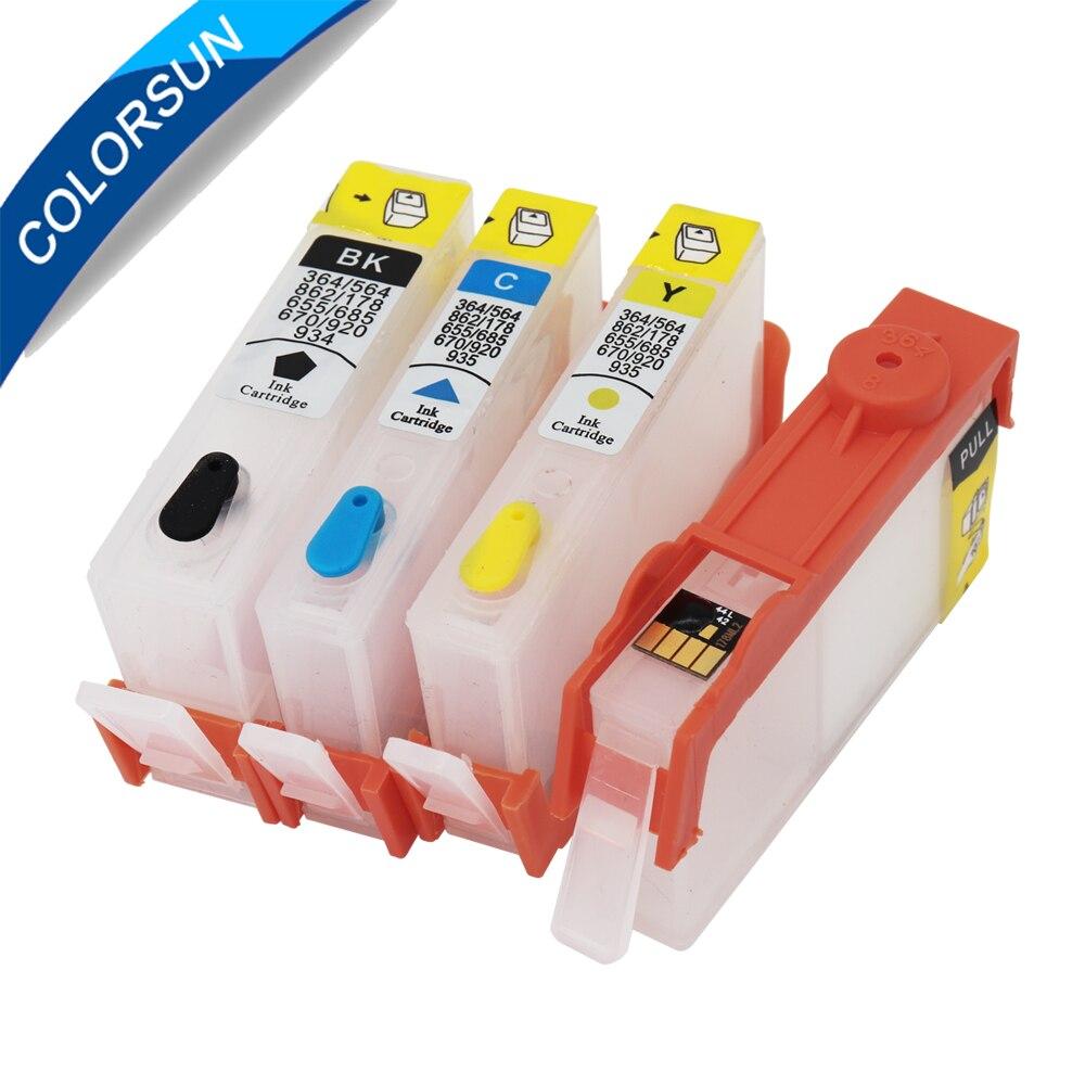 Colorsun para hp 655 para hp 655 cartucho de tinta para impressora hp deskjet 3525 5525 4615 4625 4525 6520 6525 6625 ARC chip de cartucho recarregável