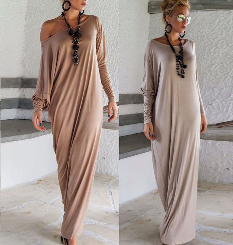 Women Maxi Dress 2017 Spring Autumn Women Full Sleeve Sexy Off Shoulder Split Long Dress Fashion Elegant Casual Loose Dress