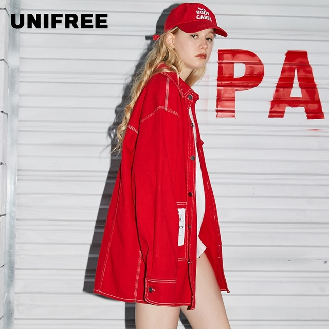 UNIFREE 2019 Autumn new arrival red top jacket women loose Korean style tide hip-hop street sexy jacket for girl UHC183B001