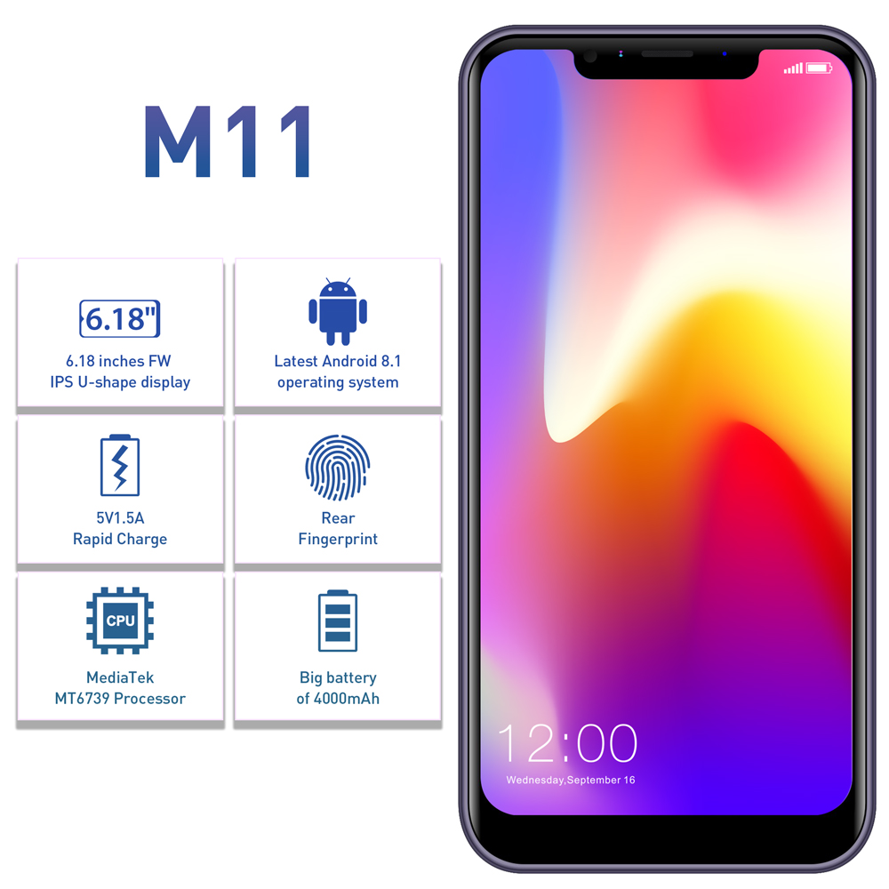 "Image 2 - Original LEAGOO M11 4G Fingerprint Mobile Phone 6.18"" Dual SIM Android 8.1 Quad Core 2GB RAM 16GB ROM 4000mAh Face ID Smartphone-in Cellphones from Cellphones & Telecommunications"