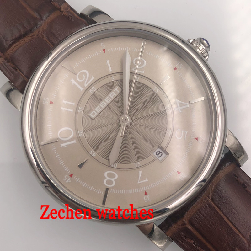 Debert Stainless steel case 43mm Gray Dial 21 jewels Automatic MIYOTA 8215 Automatic Date Day Mens watch цена и фото