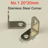 NEW 500PCS Stainless Steel Angle corner 2 hole Right Angle Bracket Metal Furniture fittings 90 Degree frame board support E242