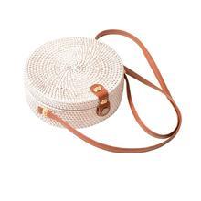 Bohemian Manual Rattan Woven Round Cutout Beach Bag Handmade Retro Circular Straw Braided Fashionable Shoulder Bags
