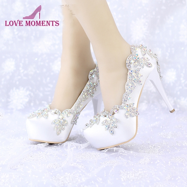 ebb7686b181b Satin Wedding High Heels AB Color Crystal Round Toe Bridal Dress Platform  Shoes Banquet Pageant Party Pumps Single Shoes