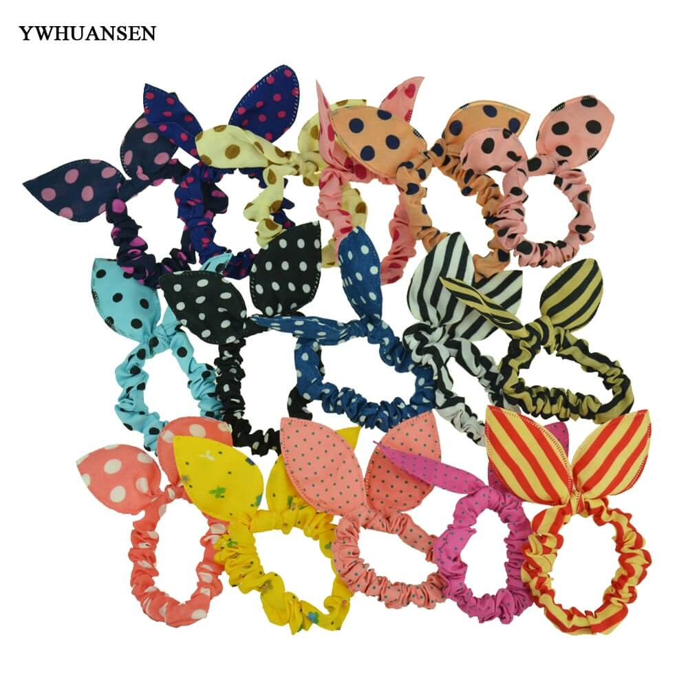YWHUANSEN 16pcs/lot Rabbit Ear Girls Women Hair Bands Dot Striped Leopard Hair Ties Kids Ponytail Holder Accessories Scrunchy m mism new arrival korean style girls hair elastics big bow dot flora ponytail rubber hair rope hair accessories scrunchy women