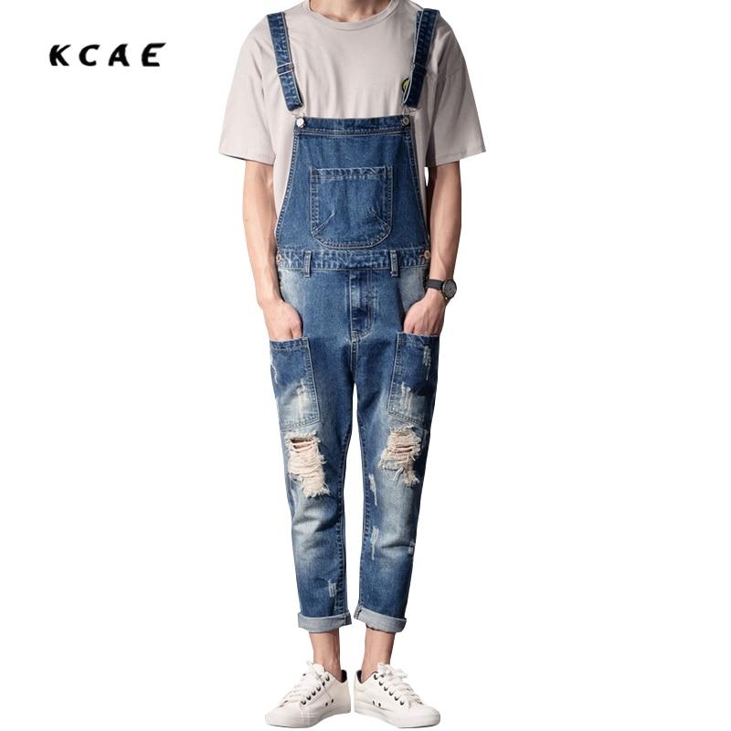 Discount Summer Mens Fashion Casual Denim Jumpsuit Slim Jeans Overalls Ripped Vintage Bib Pants Size:S-XXL male suspenders jeans mens slim straight denim overalls men s ripped jeans casual hole blue bib jumpsuit plus size xxl 71306