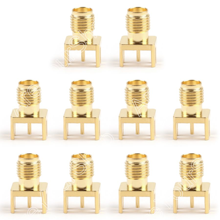 Areyourshop 10Pcs SMA Female Nut Bulkhead Solder Deck PCB Clip Edge Mount Connector 8x9mm