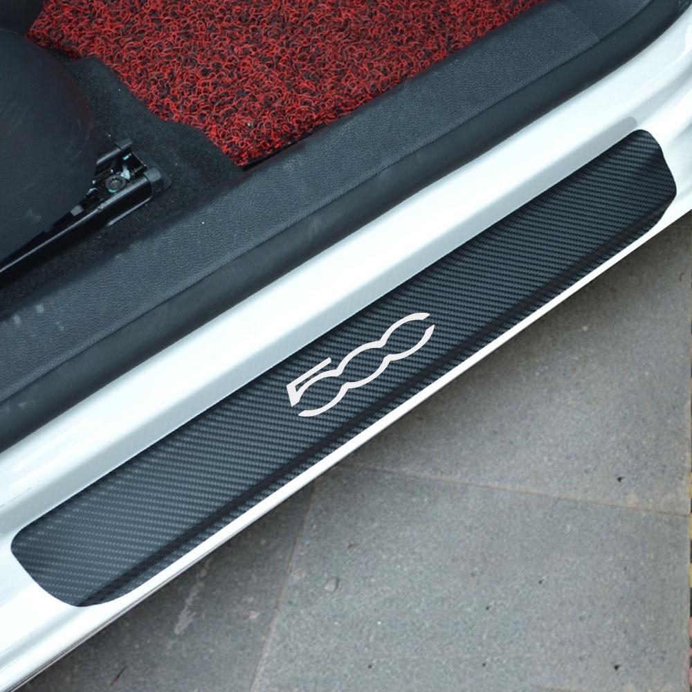 For Fiat 500 Carbon Fiber Vinyl Sticker Car Door Sill Protector Scuff Plate Car Accessories Car Styling цена