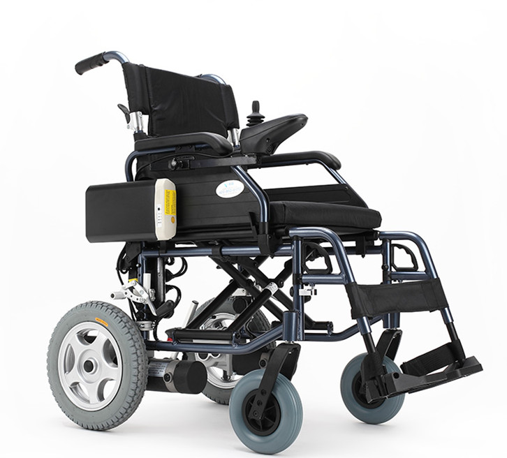Folding lightweight power electric wheelchair with small wheel